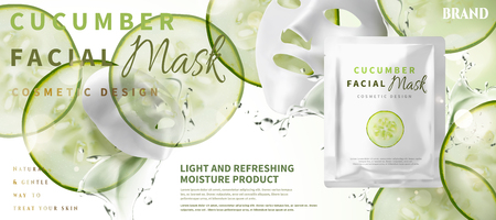 Illustration pour Cucumber facial mask with ingredients and foil pack in 3d illustration, sliced moisture vegetables - image libre de droit