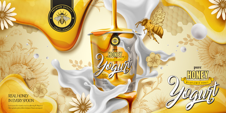 Illustration for Delicious honey yogurt ad with ingredient dripping down from top in 3d illustration, engraving style background - Royalty Free Image