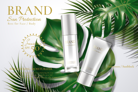 Illustration pour Sunscreen tube and bottle with tropical leaves in 3d illustration - image libre de droit