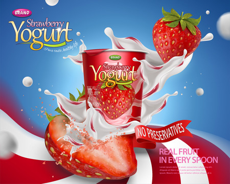 Ilustración de Dynamic strawberry yogurt ad with splashing fillings and fruit on swirl striped background in 3d illustration - Imagen libre de derechos