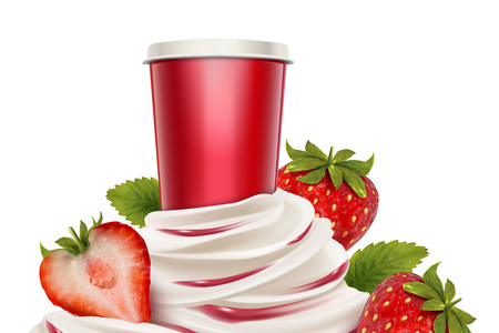 Illustration pour Strawberry ice cream and yogurt with fresh fruit and container in 3d illustration - image libre de droit
