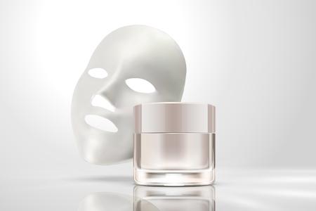 Ilustración de Facial mask with cream jar isolated on pearl white background in 3d illustration - Imagen libre de derechos