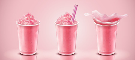 Illustration for Set of strawberry ice shaved in takeaway cup, 3d illustration drink mockup on pink background - Royalty Free Image