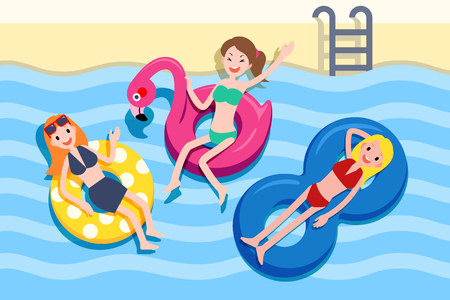 Illustration for Three cute girls lying on the lifebuoy and holding the hot summer swimming pool party, top view - Royalty Free Image