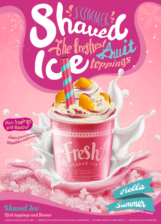 Illustration pour Strawberry ice shaved poster with splashing milk in 3d illustration, pink background with snowflakes - image libre de droit