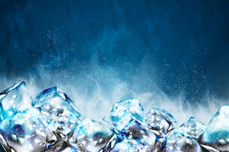 Illustration pour Frosty ice cubes background in blue tone, 3d illustration - image libre de droit