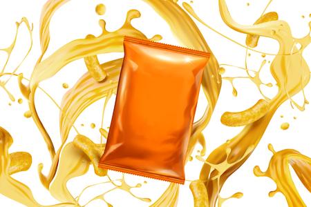Ilustración de Blank orange foil bag with splashing cheese sauce and curls in 3d illustration - Imagen libre de derechos