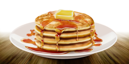 Ilustración de Delicious fluffy pancake on white plate in 3d illustration - Imagen libre de derechos