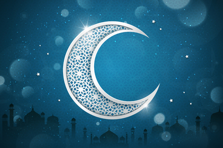 Ilustración de Islamic holiday background design with carved crescent on glitter blue background, mosque silhouette elements - Imagen libre de derechos