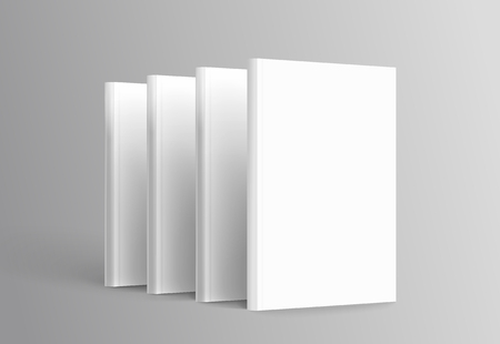 Ilustración de Hardcover books set standing on grey background in 3d illustration - Imagen libre de derechos