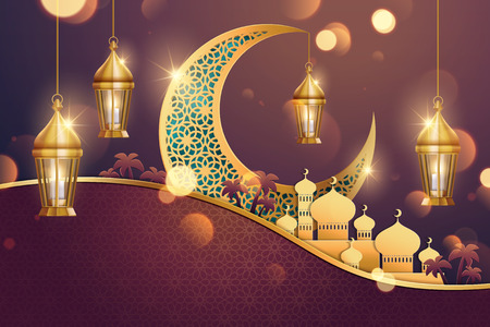Illustration for Islamic holiday background design with carved moon and mosque in paper art, 3d illustration - Royalty Free Image