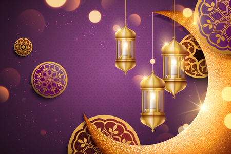Illustration pour Islamic holiday background design with glimmer golden crescent and lantern elements in 3d illustration, purple background - image libre de droit