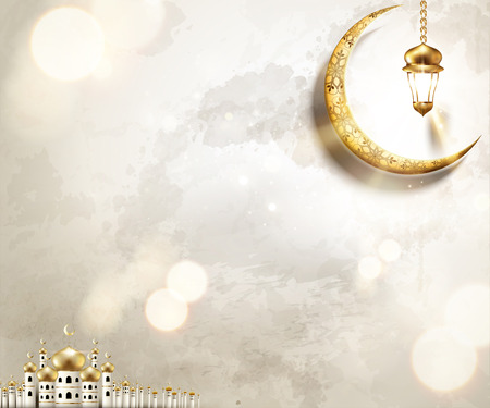 Ilustración de Arabic holiday design with mosque and golden crescent on pearl white background, 3d illustration - Imagen libre de derechos