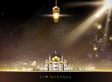 Illustration pour Eid Mubarak design with mosque scenery and hanging fanoos in 3d illustration - image libre de droit