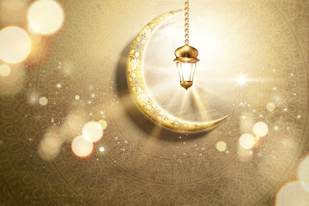 Illustration pour Arabic holiday design with golden crescent and glowing lantern on mandala background, 3d illustration - image libre de droit