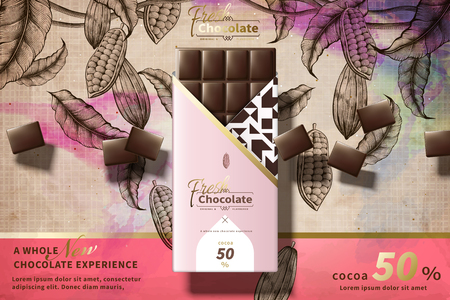 Illustration for Premium chocolate ads with pink package in 3d illustration, engraved cacao plants background - Royalty Free Image