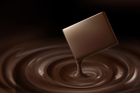 Ilustración de Mellow chocolate and dripping sauce in 3d illustration - Imagen libre de derechos