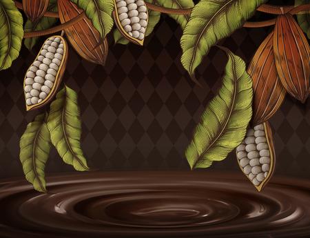 Ilustración de Cacao plant decorated frame on rhombus background in engraving style, 3d illustration chocolate sauce - Imagen libre de derechos