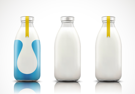 Illustration for Dairy milk in glass bottle with blank label in 3d illustration - Royalty Free Image