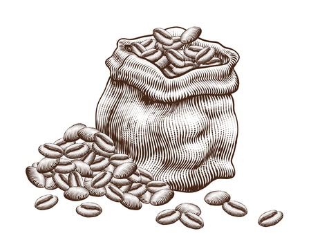 Illustration for Engraved jute bag of coffee beans on white background - Royalty Free Image