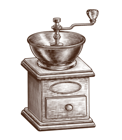 Illustration for Engraved coffee grinder equipment on white background - Royalty Free Image