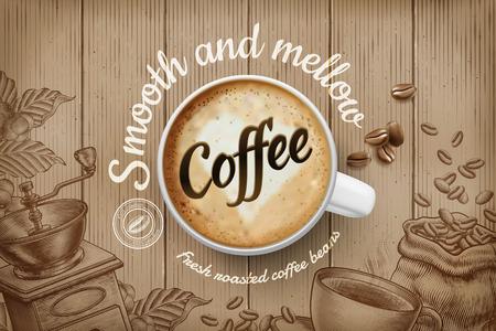 Ilustración de Coffee ads with top view 3d illustration cup and engraved retro background in brown tone - Imagen libre de derechos