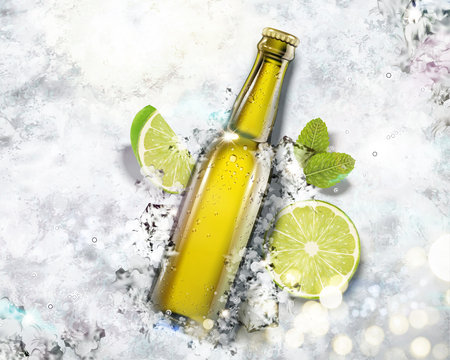 Illustration for Beverage in glass bottle on crushed ice background in 3d illustration, top view angle - Royalty Free Image
