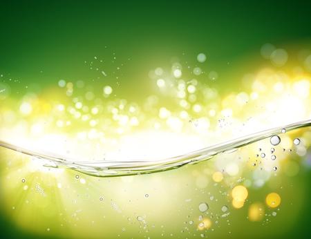Ilustración de Water transparent surface with bubbles on green bokeh background in 3d illustration - Imagen libre de derechos