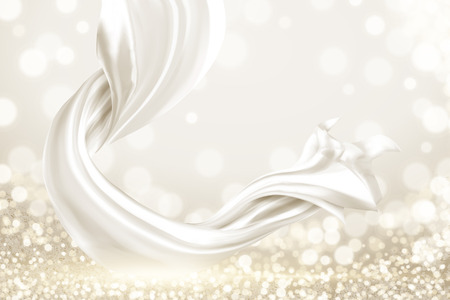 Ilustración de White smooth satin elements on shimmering background, 3d illustration - Imagen libre de derechos