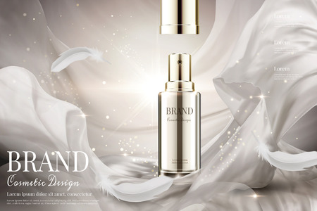 Ilustración de Open lid skincare spray with weaving pearl white satin and feathers in 3d illustration on shimmering background - Imagen libre de derechos