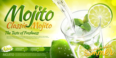 Ilustración de Refreshing mojito ads with beverage pouring into a glass cup, lime and mint elements in 3d illustration - Imagen libre de derechos