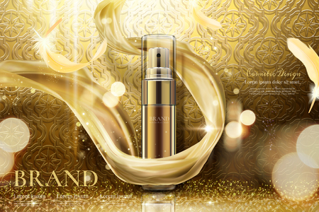 Illustration for Luxury golden skincare spray with weaving chiffon in 3d illustration, curved background - Royalty Free Image