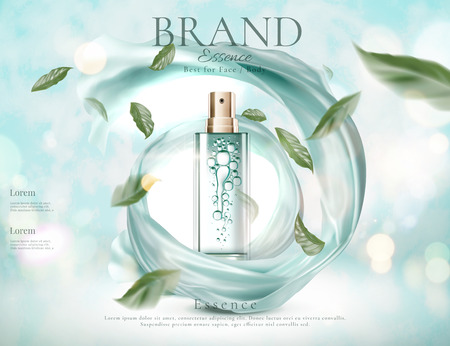 Ilustración de Refreshing skincare spray with flying green leaves and swirling satin in 3d illustration on light blue glitter background - Imagen libre de derechos