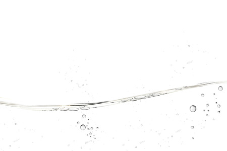 Ilustración de Water transparent surface with bubbles on white background in 3d illustration - Imagen libre de derechos