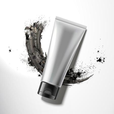 Illustration pour Blank plastic tube with smear charcoal powder in 3d illustration, top view - image libre de droit