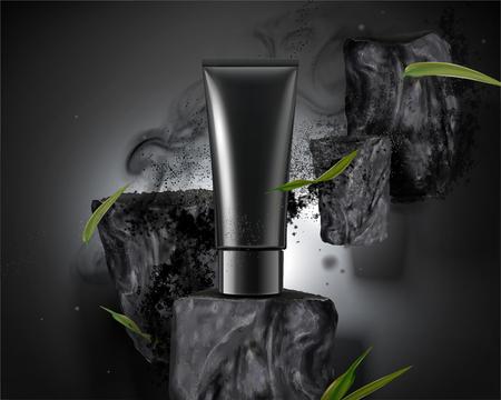 Ilustración de Blank plastic tube with bamboo charcoal elements with ashes in 3d illustration - Imagen libre de derechos