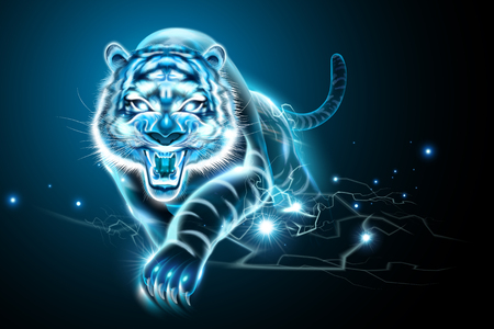 Illustration pour Vicious tiger with lightning effect in blue tone - image libre de droit