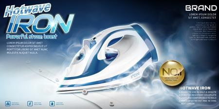 Ilustración de Steam iron advertisement, ironing shirt with high temperature in 3d illustration - Imagen libre de derechos