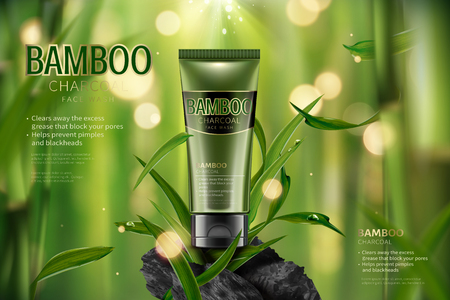 Illustration pour Bamboo charcoal face wash ads in 3d illustration, tranquil bamboo forest scene with leaves and carbon - image libre de droit