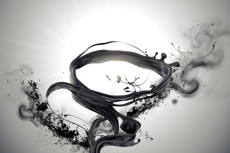 Ilustración de Swirling black liquids and ashes elements in 3d illustration - Imagen libre de derechos