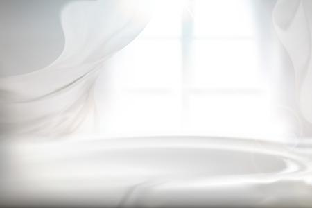Ilustración de Cozy bright interior with sheer curtain and chiffon blowing in wind, 3d illustration - Imagen libre de derechos