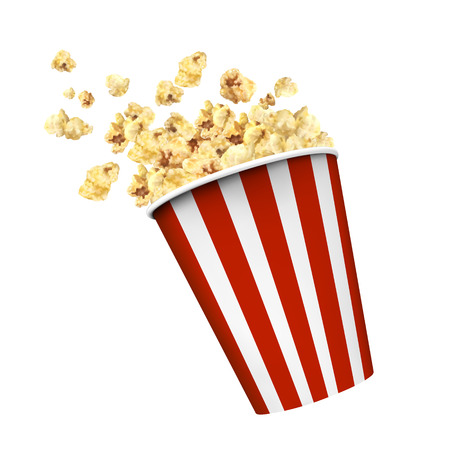 Illustration pour Striped box container with delicious popcorn in 3d illustration on white background - image libre de droit