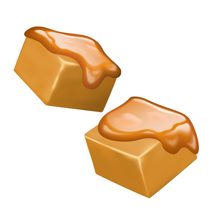 Illustration pour Sweet and delicious caramel candies on white background, 3d illustration - image libre de droit