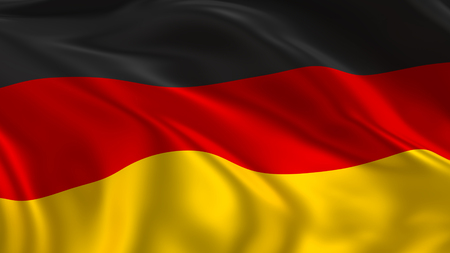 Foto de Germany flag waving in the air in 3d rendering - Imagen libre de derechos