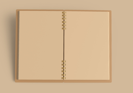 Photo pour Open kraft paper notebook mockup, blank stationery template design in 3d rendering on Kraft background - image libre de droit