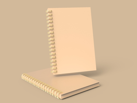 Photo pour Kraft paper notebooks mockup set floating in the air in 3d rendering, brown background - image libre de droit