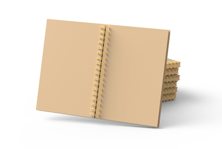 Photo pour Pile of kraft paper notebooks mockup in 3d rendering, white background - image libre de droit