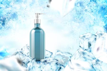 Ilustración de Cooling product with mint leaves in 3d illustration on frozen background - Imagen libre de derechos