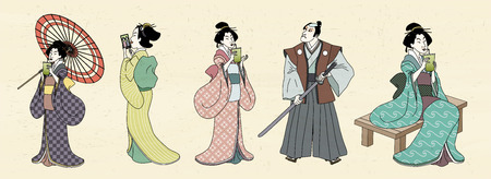 Illustration for Japanese characters design in Ukiyo-e style, geisha and kabuki - Royalty Free Image