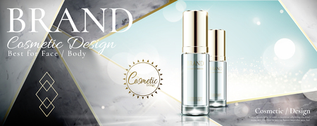 Illustration pour Cosmetic glass bottle on marble stone geometry background in 3d illustration, glitter effect - image libre de droit